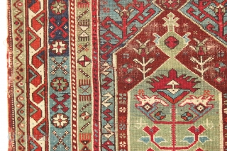 """Old Turkish prayer rug. Interesting village weaving in fairly good condition with pretty all natural colors. Original selvages and kelim ends. Fresh New England find. ca. 1875. 3'9"""" x 5'8"""""""