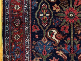 Old Bidjar rug with classic design. Beautiful colors and nice size. As found from local home with overall low pile. Original selvages, unraveling a bit. Reasonably clean. Not high pile but still  ...