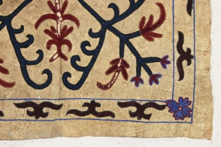 New England attic find. Interesting old decorated animal hide square. Lakai? Uzbek? As found, dirty with some wear as shown. Colors appear all natural. And yes it was really folded up in  ...