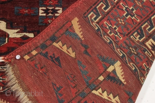 antique yomud chuval in exceptional condition. Another fresh turkman from a local New England collection. Very nice elem panel and allover good pile and beautiful glossy wool. All good natural colors with  ...