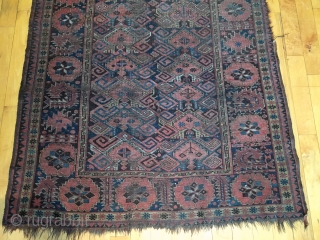 "Old turkman beshir rug. As found, in poor condition and priced accordingly. All good colors. Well drawn study piece featuring an attractive border. Very dirty but structurally sound. Mid 19th c. 4'2""  ..."