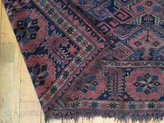 """Old turkman beshir rug. As found, in poor condition and priced accordingly. All good colors. Well drawn study piece featuring an attractive border. Very dirty but structurally sound. Mid 19th c. 4'2""""  ..."""