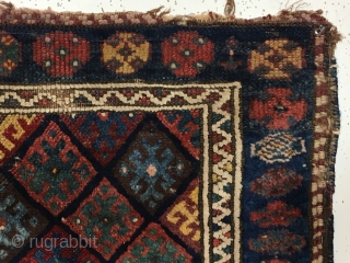 Old Kurdish bagface. In all respects a typical jaf Kurd diamond bagface except all the whites are cotton. Never seen that before. As found, dirty with damage and a red surface stain  ...