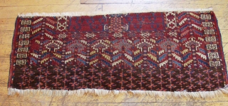 """Antique Tekke ensi fragment. Interesting drawing and excellent saturated color. All natural colors. Nice yellows. Even low pile. Cool thing. 19th c. 19"""" x 48"""""""