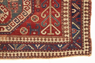 antique caucasian sewan kazak rug. Large older example of this interesting type. As found, overall thin with low plle, creases and some slight damage as shown. Heavily oxidized browns. All natural colors  ...