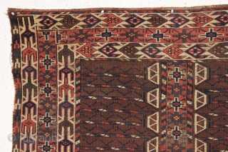 antique turkman yomud ensi in fair condition with good drawing and particularly nice elem panels.  Fresh to the market. As found, a bit dirty with overall fair pile, some center wear  ...
