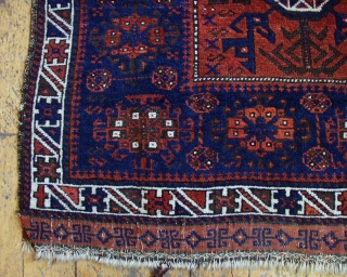 "Antique baluch bagface. High quality weaving with good lustrous pile. All natural colors. Nice medium blue. 19th c. piece. 2' 9"" x 2' 11"""