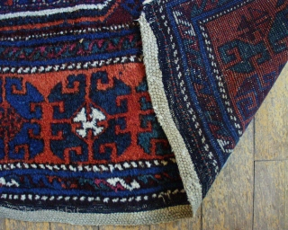 Antique Kurdish East Anatolian rug. Good original untouched condition. Thick pile. Typical creases. All good natural colors. This weaver decided the rug was finished without completing the borders! Original braided end finishes.  ...