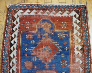 "Antique very small Kazak prayer rug. Nice old piece in need of restoration. All good natural colors. Fresh and dirty. 19th c. 3' 3"" x 3' 11"""