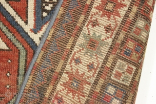 "Antique lenkoran rug. Nice soft colored ground with pretty yellows and greens. Not to long, not to short, just right. Condition issues but ample pile for repair. ""as found"", very very dirty.  ..."