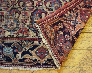 "Antique very large Afshar bagface or trapping. Interesting design, beautiful border. Allover even very low pile. All natural colors. One crudely sewn up hole. 19th c piece. 1' 8"" x  4'  ..."