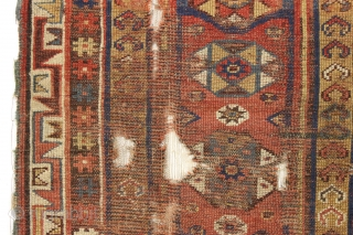 """Antique turkish makri rug. Reasonably early example. """"as found"""", dirty with some nice holes. All natural colors. ca. 1875. 3'9"""" x 5'4"""""""
