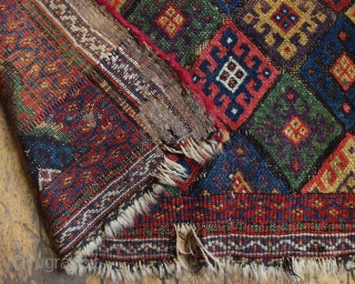 """Antique Kurdish bagface. Excellent natural colors including a fine purple and a very good yellow. Rough condition. ca. 1880   2""""1"""" x  3'"""