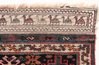 Antique Persian bagface with full thick pile and lustrous wool. Nice design featuring a terrific plain woven end with a charming camel train. All good natural colors including a rich aubergine, a  ...