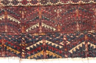 Early yomud ensi. Short, dark, and handsome. Not your average weaving. Some silk highlights. One touch of the back conveys all that's needed. Highest quality wool and jewel like natural colors. Far  ...