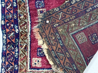 Antique little pile bagface with color and design of an east Anatolian Kurdish weaving but in an uncommon small squarish format. Mostly good thick pile. All good ver saturated colors. Remnant selvages  ...