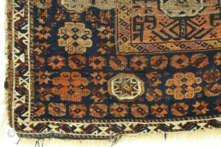 Antique baluch bagface. Odd little piece with very fine weave and both yellow and purple silk highlights. Thin and floppy. Poor condition as shown. Inscrutable color. Age? Feels soft and old. 2'  ...