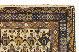 either a really big violin or a really small rug. Antique very small caucasian rug with ivory ground and classic palmette design. Overall pretty good condition and recently washed. Sweet little weaving.  ...