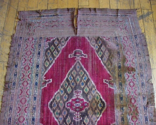 """Antique Persian Ikat panel. Old but rough condition. Original assembled sewn construction. Unwashed with stains. Tears but not rotted. Looks like silk. 3' 4"""" x  5'"""