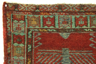 Antique Anatolian Yastik. Bold and unusual design. All natural colors. Old condition as shown. Thin with wear and oxidised browns. Minimal side edge repairs. Reasonably clean. Good age ca. 1880 or earlier.  ...
