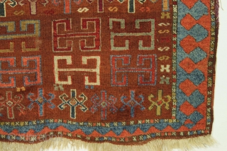 """Antique East Anatolian or Kurdish rug. Wild thing. Some good pile, some damage and wear as shown. All good natural colors. Quite an eye catcher. 19th c. rug.  4' 5"""" x  ..."""