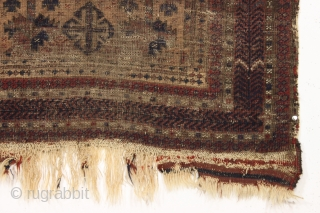 early baluch prayer rug with some interesting design features. As found, very dirty, very thin, with heavy wear and black oxidation. Unusual and attractive  border. Animals. Sophisticated and delicate drawing. Good  ...