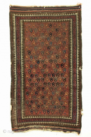 """Antique baluch rug. Nice little rug just picked. Good design and all natural colors. Thin and very very low pile. Very very dirty. No repairs. Decent age, late 19th c. 2' 6""""  ..."""