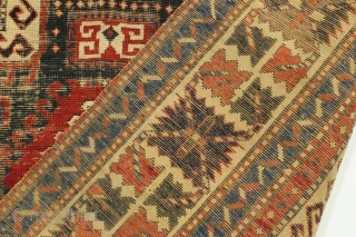 """Antique caucasian Sewan rug. Early example. Thin with wear """"as found"""". All good natural colors including a deep green center medallion. Heavy oxidation. Washed but no repairs. Structurally sound. Mid 19th c.  ..."""