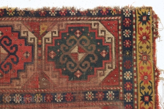 antique caucasian moghan kazak fragment. Just picked older example. As found, very very very dirty with a few spots of spilled who knows what. A challenge to those who enjoy washing. Appears  ...