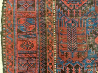 Antique extremely colorful Baluch main carpet. All natural colors including brilliant ember reds and electric blues. Just picked. And yes it really looks like the pics. Overall evan low pile with brown  ...