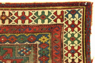 "Antique little caucasian rug fragment. Very fine quality and weave. Vibrant natural colors. Corroded ground. Clean but rough as shown. Good age, ca 1880 or earlier. 2'2"" x 3'1"""