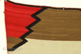 "Older native American Navajo rug. Very bold and colorful. Good condition. Vibrant red but no dye run. All wool. Soft and supple. Could use a careful wash. Early 20th c.? 2' 10""  ..."