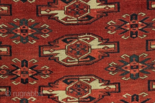 """Antique Kizil Ayak chuval. All good natural colors and shiny wool. Fair overall condition with low center pile. Clean. Couple small repairs in upper edge as shown. Ca. 1880 weaving. 2'8"""" x  ..."""
