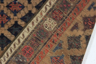 antique baluch rug. Sparkly rug symmetrically knotted with real greens, saturated reds, and pretty light blues. Eye catching unusual design and highest quality wool. Overall very good condition, clean, with soft blanket  ...