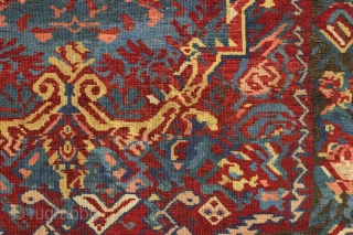 antique caucasian seichour rug. Older example with highest quality wool and colors. Eye dazzling design with eccentric and complex drawing. Thin and supple with a blanket like handle. Vibrant saturated colors. Reasonably  ...