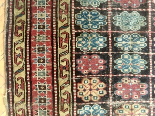 """Antique rug. Unusual design. Northwest Persian? Caucasian? Mystery? Restorable. With wear and edge roughness as shown. Priced accordingly. Late 19th c. 4'3"""" x 8'6"""""""