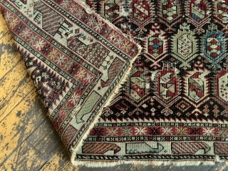 """Antique Caucasian shirvan marasali prayer rug. Iconic border. Genuine example in very dirty, very abused condition. Obvious heavy wear and scattered damage as shown. Not restorable. Priced accordingly. 19th c. 3'6"""" x  ..."""