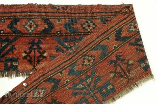 """Amtique very long turkoman fragment. The perfect addition to that main carpet that had it's skirt panel removed. Good pile. Natural colors. Old. 9"""" x 6' 2""""       ..."""