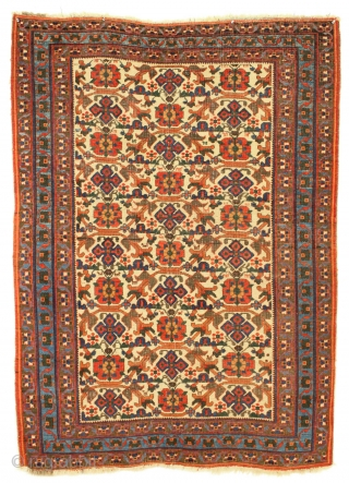"Antique ivory ground Afshar rug. Very nice design. Allover good even low pile with moderate brown oxidation. All wool. All natural colors. No repairs. Recent wash. Good age, 19th c. weaving. 4'5""  ..."