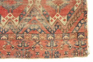 """Antique ersari chuval. A beautiful design. An elegant ghost of a weaving. All natural colors. And very dirty. 3rd qtr 19th c. 3'1"""" x 4'10"""""""