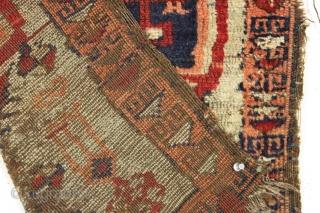 """Antique yastik. Unusual design. Imperfect condition. 19th c. 1'11"""" x 2'9"""""""
