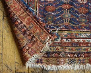 """Antique Turkish Makri prayer rug. Really nice older example in rough condition. Very low pile. All good natural colors. New England estate rug. Ca. 1875 or earlier. 3' 6"""" x 4"""" 7"""""""
