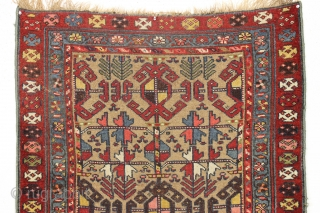 "Antique camel ground NW Persian or kurdish rug. Extra colorful version of this known design. ""As found"" condition, very dirty and with an area of heavy wear as shown. Structurally sound. Good  ..."