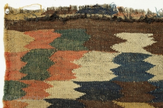 """Colorful and unusual old flatweave fragment. All good natural colors including a fine green and 2 yellows. All wool with goat hair warps. Origin? Age? Charming? 21"""" x 23"""""""