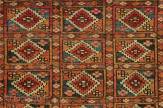 """Antique small tekke rug. Unusual field design. """"As found"""", very dirty and with low pile and damage as shown. Appears to be all natural colors including much insect dye and no dye  ..."""