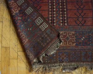 """Antique Ersari ensi. Good age. Low pile, some wear. Very dirty, needs a good wash. All natural colors. ca. 1880 or earlier. 4' 6"""" x 5' 5"""""""