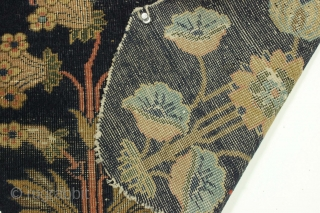 """Old fragment. Curious little carpet fragment, Persian or maybe indian? Cotton foundation, wool pile. Thin with very low pile. Inexplicable shape. 15"""" x 21"""""""