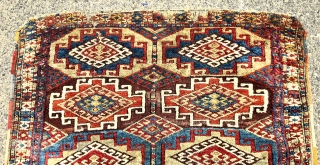 Antique tribal rug with bold large Memling guls and thick fleecy pile. Possibly east Anatolian origin? Excellent natural colors. Mostly good thick pile with scattered wear, creases, tears, brown oxidation and end  ...