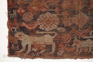 """Antique SW Persian rug fragment. Menagerie with a lion, a tiger, a human and more. Lower than low pile. Almost imaginary. Color? Age? 19"""" x 26"""""""