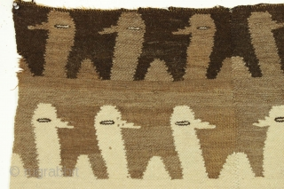 """Old textile fragment. South American? They look like alpacas and probably it's alpaca wool. Woven in two pieces. Original selvages. Reasonably clean. Soft and charming. 2'7"""" x 3'"""